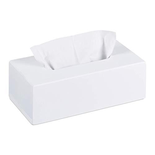 Relaxdays, 7,5 x 24 x 12 cm, Blanco Caja para pañuelos de bambú, Portapañuelos con Suelo Deslizante