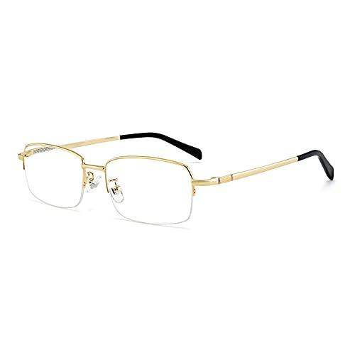 HQMGLASSES Gafas De Lectura Unisex con Bloqueo De Luz Azul Gafas De Lectura De Ordenador De Medio Marco Gafas De Titanio Puro para Juegos Ligeros Antifatiga,Oro,+1.50