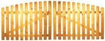 StaketenTor 'Standard' 300x 100/120 cm - oben – kdi / V2A Edelstahl Schrauben verschraubt - aus frischem Holz gehobelt – nach oben gebogene Ausführung - kesseldruckimprägniert