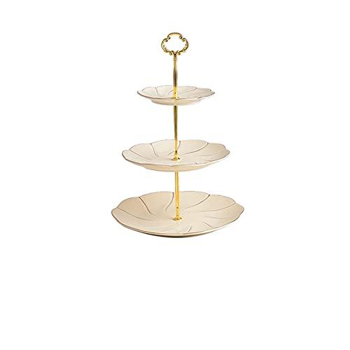Torta de cerámica de tres capas de estilo europeo Pasta de oro roscada línea de frutas Tiempo dulce para la fiesta de té de la tarde