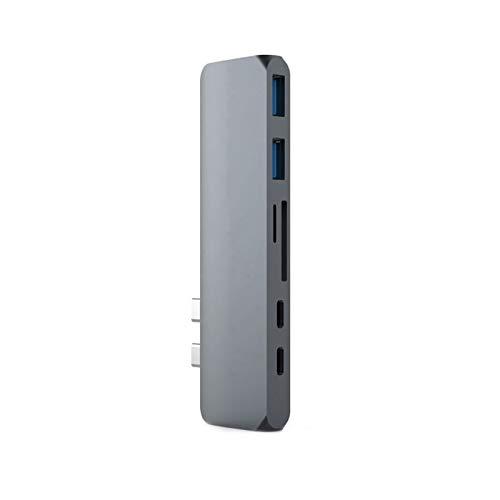Divisor de USB USB C Hub to HDMI 4K RJ45 1000M Adaptador Thunderbolt 3 Pier y HUB 3.0 TF Lector de tarjetas SD PD para MacBook Pro / Air Type-C 2020 Concentrador USB C ( Color : Rj45Silver add cable )