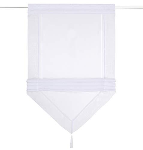 1Pièce Brise Bise Transparent Passe Tringle avec Pompon Bord de Couleur Décoration de Fenêtre Chambre Cuisine Café (LxH 45x140cm, Blanc/Blanc)