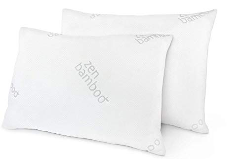 Zen Bamboo Pillows for Sleeping - Premium Allergy-Friendly Bed Pillow w/ Cool & Breathable Bamboo Cover - Reduces Neck Pain - Queen Size, Set of 2