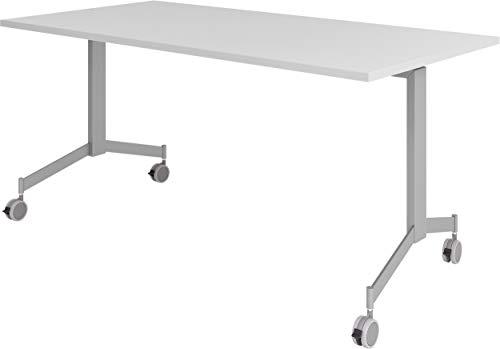 bümö Klapptisch fahrbar 160 x 80 cm - mobiler Konferenztisch klappbar & rollbar | Meetingtisch massiv mit Rollen (Grau)