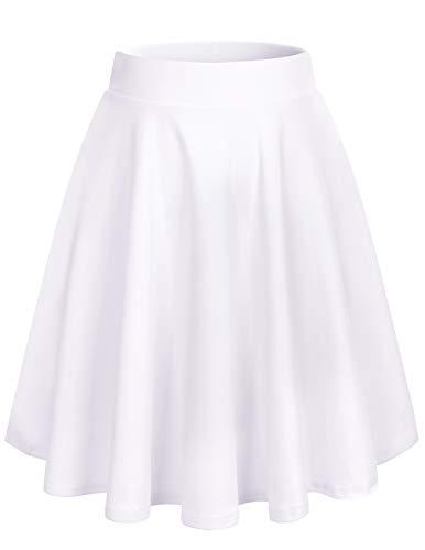 Bridesmay Donna Gonna Vita Alta Casual Solida Colore Midi Gonna Midi-White XL
