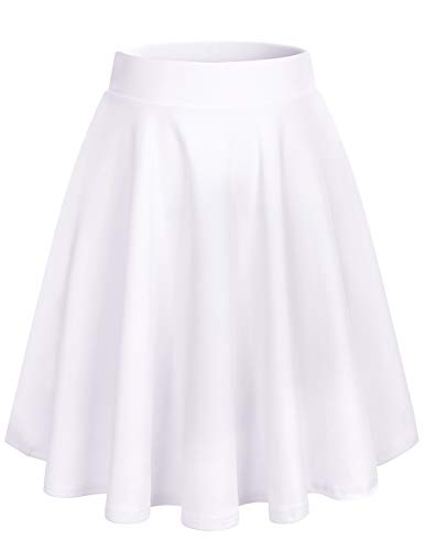 bridesmay Damenrock Basic Solid Vielseitige Dehnbaren Informell Minikleid Retro Mini Rock Faltenrock Midi-White XL