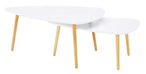 HomeTrends4You 205226 2-Satztisch / Couchtisch / Nierentisch Niko, Deckplatte MDF weiß matt, Beine Holz natur, 100x70 cm, Höhe 43cm und 90x60cm, Höhe 36cm