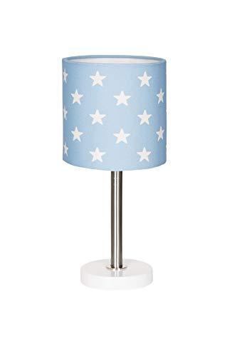 Lámpara de mesa, diseño de estrellas, color azul y blanco