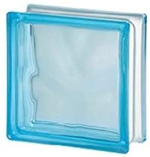 Seves Glass Block 7.5 x 7.5 x 3 Basic Wave Azure Color Glass Block