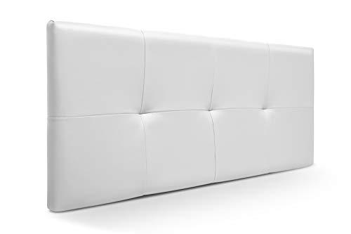 SUENOSZZZ-ESPECIALISTAS DEL DESCANSO Cabecero de Cama de 135 y 140 cm Modelo Lhasa Acolchado tapizado en Polipiel, Color Blanco 145 x 57 cm
