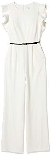 Calvin Klein Women's Belted Jumpsuit with Flutter Sleeves, Cream, 8