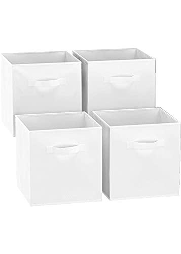 GREATOOL Caja de Almacenaje Plegable, Pack 2 Unidades de 31x31x31cm,Cajas organizadoras en Tela, Caja para organizar Ropa, Juguetes y Sábanas en Armarios (2 Unidades, Blanco)