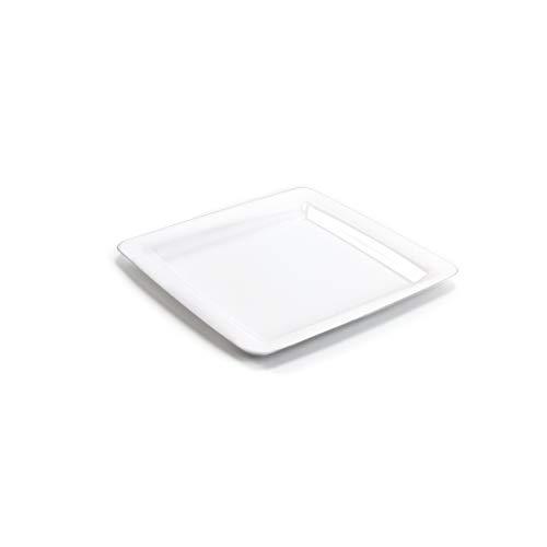 20x Vorspeisen- und Kuchenteller weiß 18 x 18 cm | Plastikteller Alt. zu Einweg | robustes Plastikgeschirr hochwertige Qualität | Partyteller aus Kunststoff wiederverwendbar | silverkitchen ®