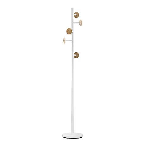 Balvi - Shiitake Wood Coat Stand with 6 Hooks. Colour: White and Wood. Height: 174cm. to Hang All Kinds of Clothes: Coats, Jackets, Scarves, Hats and More