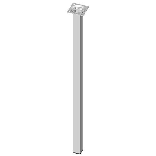 Element System 4 Stück Stahlrohrfüße eckig, Tischbeine, Möbelfüße inklusive Anschraubplatte, 60 cm, 10 Abmessungen, weiß, 4 farben, 18133-00307