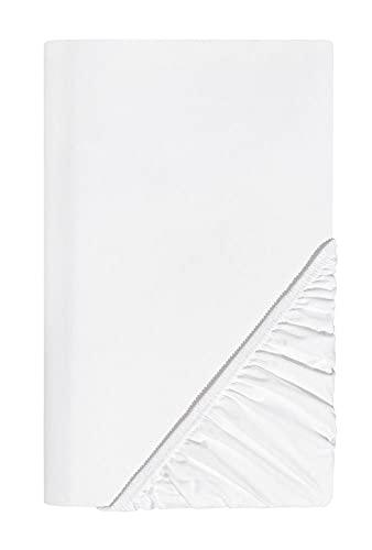 SCHLAFWOHL SILVER Spannbettlaken 160 x 200 cm Öko-Tex Standard 100 Zertifiziert • Spannbetttuch mit Anti-Rutsch Rundumgummi • Bettlaken Baumwolle mit 30cm Steg • Farbe: Weiss