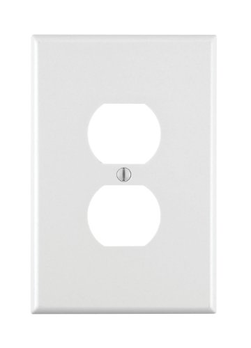 Leviton, White 88103 1-Gang Duplex Receptacle Wallplate, Oversized, Thermoset, Device Mount