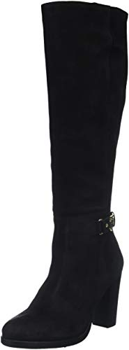 Tommy Hilfiger Damen TH Buckle Heeled Long Boot Suede Hohe Stiefel, Schwarz (Black 990), 38 EU