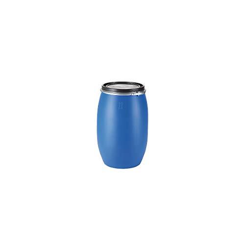 Certeo Kunststofffass mit abnehmbarem Verschluss   Blau/Schwarz   120 l   Leerfass Weithalsfass Deckelfass Rundfass Lebensmittelfass Lebensmittelecht