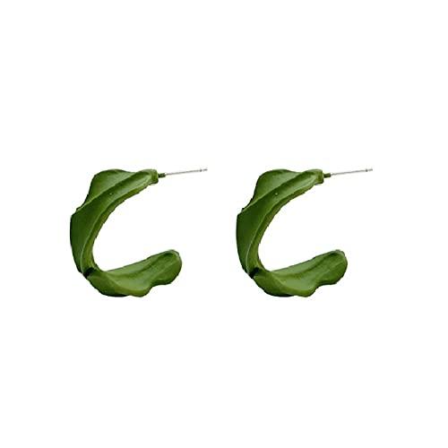 S925 pendientes de aguja de plata temperamento simple semicírculo geométrico pendientes de personalidad en forma de C pequeños pendientes verdes matcha frescos pendientes de moda
