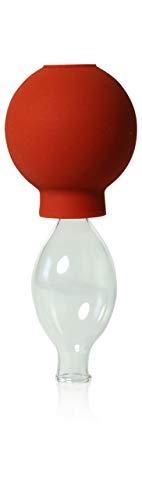 Schröpfglas mit Saugball 10mm zum professionellen, medizinischen, feuerlosen Schröpfen mundgeblasen handgeformt, Schröpfglas, Schröpfgläser, Lauschaer Glas das Original