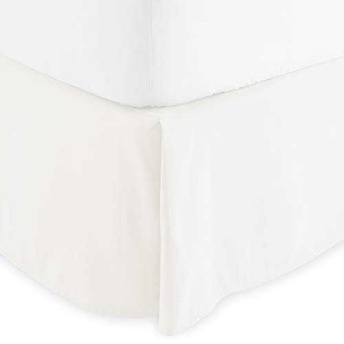 Bare Home Bed Skirt Double Brushed Premium Microfiber, 15-Inch Tailored Drop Pleated Dust Ruffle, 1800 Ultra-Soft Collection, Shrink and Fade Resistant (Queen, Warm White)