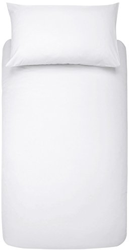 AmazonBasics Microfibre Duvet Cover Set, Singe, Bright White