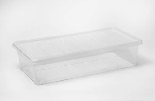 Cajas de almacenamiento grandes de plástico para debajo de la cama de 100 l, con tapas transparentes, paquete de 3, súper fuertes, perfectas para el hogar, la oficina y el garaje