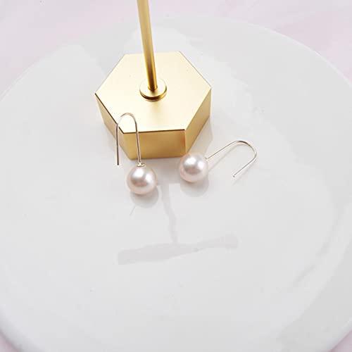 LOKILOKI Pendientes Colgantes De Perlas Redondas Grandes De Perlas De Agua Dulce Naturales Reales para Mujer, Regalo De Joyería De Plata De Ley 925