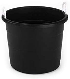 Mainstays 17 Gallon Plastic Utility Tub with Rope Handles, Black, Set of 8