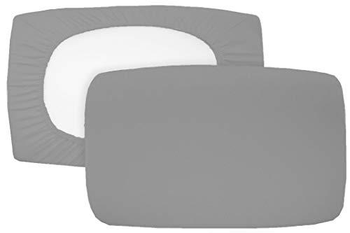 Home Edition 2er Pack Spannbezug für Nackenstützkissen Baumwolljersey (mit Elasthan) 36x50 bis 36x60 cm (Grau)