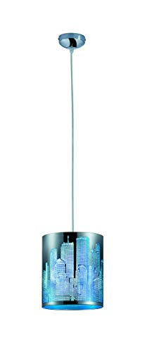Reality Leuchten Pendelleuchte, City Lasercut, 1x E14 maximal 60 W ohne Leuchtmittel, Durchmesser 20 cm, Höhe maximal 150 cm, Folie türkis / blau, chrom R30081012