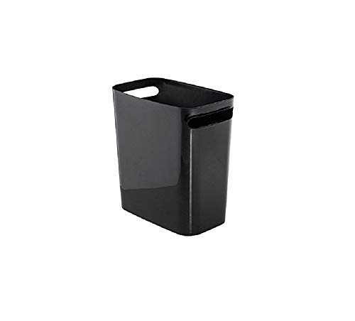 iDesign Cubo de basura con asas, papelera pequeña de plástico con capacidad para 9,5 litros, moderna papelera de cocina, baño y oficina, negro
