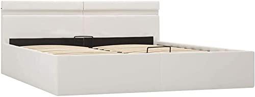 vidaXL Cama Canapé Hidráulica con LED Cuero Sintético Somier Decoración Interior Resistente Robusta Duradera Práctica Cómoda Útil Blanco 160x200cm