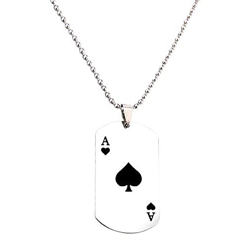 collar Lucky Ace of Spades Collar de acero inoxidable para hombre Color plata póker colgante collares para mujeres Casino Fortune Jugar a las cartas