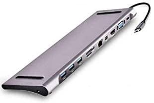 CEZO USB C Hub, 11 in 1 Type C Hub Dongle to Ethernet, 4K HDMI & Mini DP, VGA,4 USB3.0/75W PD/SD&TF Card Reader/Mic&Audio for Mac Book&Type C Laptops Updated Version(Type C HUB 11 in 1)…