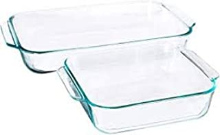 Pyrex Basics Clear Glass Baking Dishes - 2 Piece Value-Plus Pack - 1 Each: 3 Quart Oblong, 2 Quart Square
