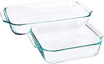 Pyrex Basics Clear Glass Baking Dishes - 2 Piece Value-Plus Pack - 1 Each: 3 Quart Oblong, 2 Quart Square