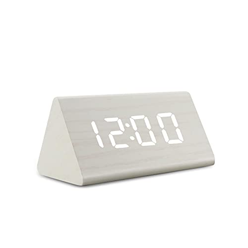 Reloj Digital LED Reloj Despertador de Madera Mesa Control de Sonido Relojes electrónicos Escritorio USB / AAA Powered Desperadoes Home Table Decor s-whitewhite