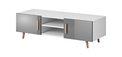 VIVALDI Mobile porta TV - SWEDEN 2 - 140 cm - Bianco Opaco / Grigio Lucido senza illuminazione LED - Stile scandinavo