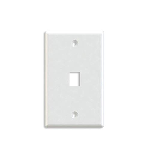 Maxmoral 5-Pack 1-Port Wall Plate Keystone Jack with Screw - White