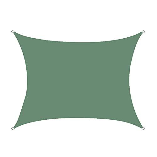 FLZXSQC Toldo para Exteriores De 2 * 3 M, Vela De Sombra Cuadrada A Prueba De Lluvia/Polvo, Adecuado para Terrazas, Céspedes, Jardines,Dark Green