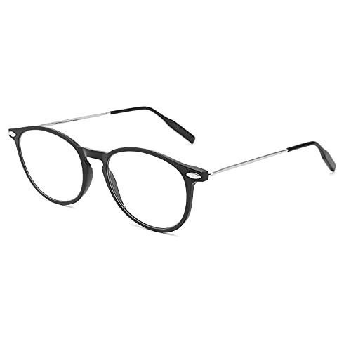 Reading Glasses Gafas de Lectura Anti-Azules de Alta definición, adecuadas para Personas de Mediana Edad y Personas Mayores, con Estuche para Gafas, cómodas y portátiles, Negras, Blancas