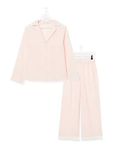 Iris & Lilly Damen Pyjama-Set aus Baumwolle, Pink (rosa gestreift), M, Label: M