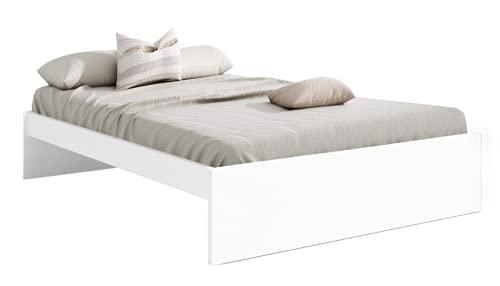 Cama Matrimonio Lyon Color Blanco Mate Dormitorio habitación Estilo Moderno Mueble 150x190 cm