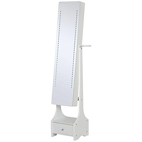 homcom Armadio Portagioie con Specchio e Luci a LED Regolabili con Interruttore Touch, per...