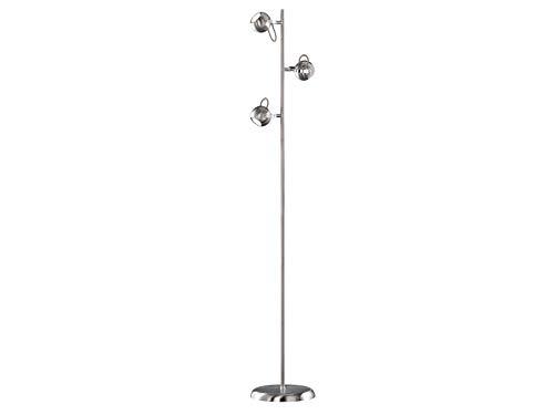 Reality lampen verlichting opvallende LED vloerlamp van metaal in mat zilver 3 spots draaibaar, hoogte 150cm - grote vloerlamp