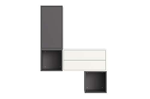 Iconico Home QBE, Set da ingresso, Bianco/Grigio scuro, composto da: Cubo da parete 1 anta/1 ripiano, 2x Cubo da parete 1 vano a giorno, Cubo da parete 2 cassetti