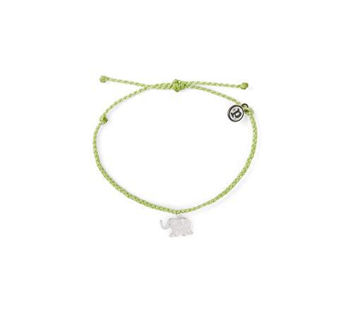 Pura Vida Silver Elephant Charity Wildlife Bracelet - 100% Waterproof, Adjustable Band - Coated Charm, Green