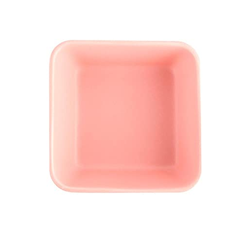 Hamster Ceramic Square Bowl Feeder,Lovely Small Animal No Spill No Turnover Food Water Bowl Dish Holder for Guinea Pig Rodent,Pink